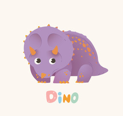 Cute Purple Cartoon Baby Dino. Bright Colorful dinosaur. Childrens illustration. Isolated. Vector