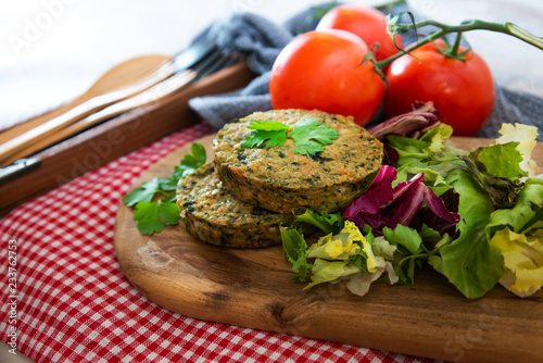Foto Murales Vegetarian food Wheat Gluten Steaks with spinach