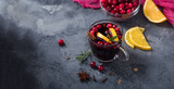 Mulled wine with cranberberries, christmas drink copy space background - 233763593
