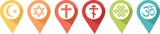 Pictogram of different religions in pins to know where to find them