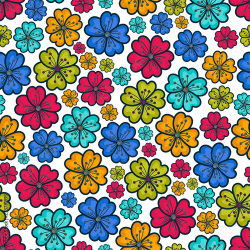 Colorful flowers pattern background - 233791993