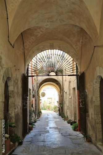 Old Town alley of Ortigia Syracuse, Sicily Italy