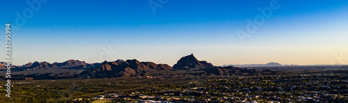 Aerial, drone view of Fountain Hills, Arizona and the surrounding mountains and hills - 233795994