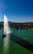 Aerial, drone view of the historic fountain at Fountain Hills Park in Arizona