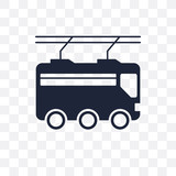 Trolleybus transparent icon. Trolleybus symbol design from Transportation collection. Simple element vector illustration. Can be used in web and mobile.
