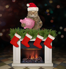 The cat in Santa Claus hat with a piggy bank is behind the Christmas fireplace. Dark background.
