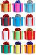 Viele Geschenke Geburtstag Weihnachten Geburtstagsgeschenke Weihnachtsgeschenke Collage Hochformat Schachteln Freisteller isoliert