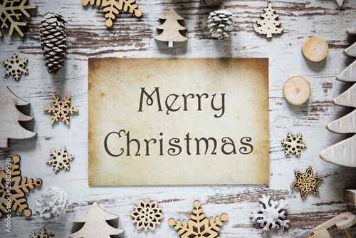 Rustic Christmas Decoration, Paper, Text Merry Christmas - 233815570