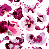 Abstract vector pink flower pattern with spots in grunge style - 233834552