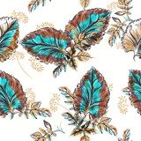 Beautiful vector leaf pattern with watercolor leaves - 233835122