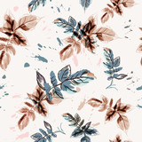 Floral vector flower pattern with watercolor leaves - 233835971