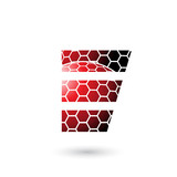 Red Letter E with Honeycomb Pattern Vector Illustration
