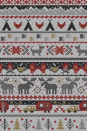 fototapeta na ścianę Seamless Vector Fair Isle Knit Happy Camper Winter Wonderland Woodland Animals in Gray, Red, Brown