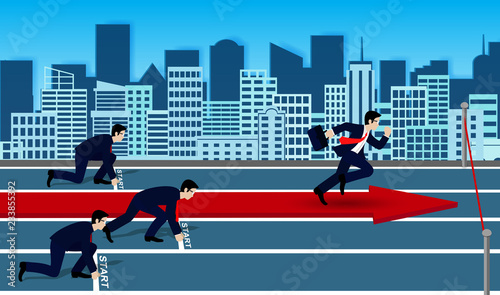 Businessmen competition run to the finish line to success in business.  go to target growth. creative idea. leadership. cartoon vector illustration - 233855392