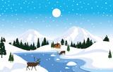 Winter Snow Background Illustration Mountain Sky Landscape