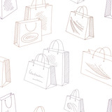 Shopping bag graphic color seamless pattern background illustration vector - 233857528
