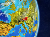 Austria on planet planet Earth with country borders. Extremely detailed planet surface and clouds. - 233861735