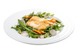 Fried bass with salad. On a white background