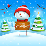 Merry Christmas! Cheerful snowman holds wooden board sign in Christmas snow scene winter landscape.