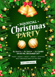 Magical Christmas Party celebration concept, Golden jingle bells with baubles, pine leaves and holly berries decorated on green background.