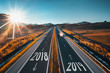 Driving on open road at beautiful sunny day from 2018 to new year 2018