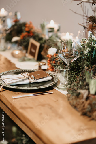 table with wedding decorations - 233896115