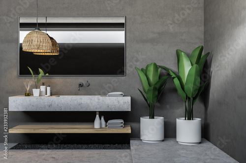 Leinwandbild Motiv Gray bathroom sink with mirror