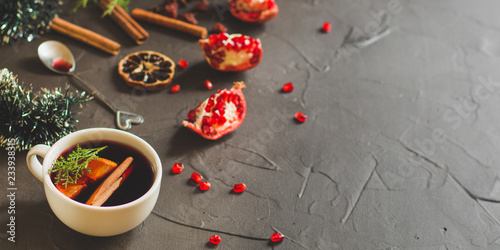 Mulled wine with spices and gifts on the table. Happy New Year! Top view - 233938315