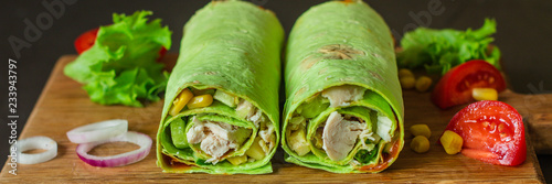 burrito wraps green with meat and vegetables  (tortilla wraps). top view. copy space