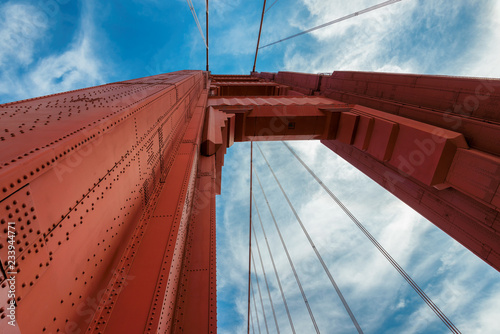 A closeup of Golden Gate Bridge, on a sunny day in San Francisco, California.