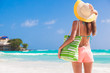 Quadro back view of young beautiful woman with beach bag at sunny tropical beach