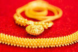 Thai gold jewelry 96.5% set on red carpet texture for sell