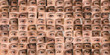 Collection of images of human eyes of men and women forming a texture. Eye background collage