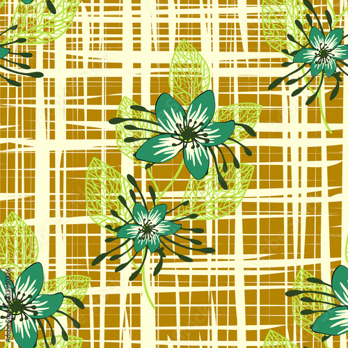 Floral seamless pattern. Hand drawn abstract flowers with doodle decoration. Colorful artistic design. It can be used for wallpaper, textiles, wrapping, card. Vector illustration, eps10 - 233960326