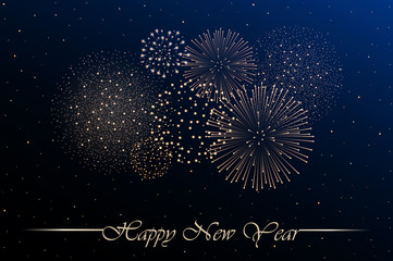 Firework show on blue night sky background. New year concept. Congratulations or invitation card background. Vector illustration