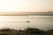 Two silhouetted surfers paddling on the River Severn on a misty sunny early morning