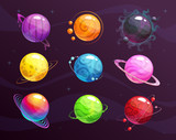 Cartoon colorful fantasy planets set on space background. © lilu330