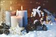 Leinwandbild Motiv Adventskerzen im Schnee - dritter Advent