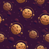 Seamless pattern with yummy chocolate planets. Cookie space texture. - 233970314
