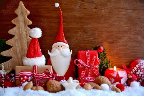 Leinwanddruck Bild Weihnachtsmann mit Geschenken - Weihnachtskarte