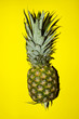 Pineapple Over Yellow Background. Colorful Food. Pineapple. Food Background.Abstract Pineapple Background. Fruit Texture.