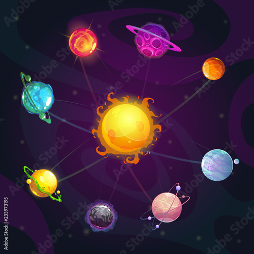 Cartoon colorful fantasy solar system with star and planets on the space background.
