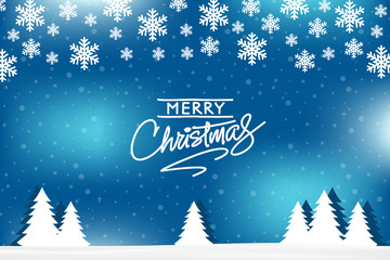 Merry Christmas greeting card vector design on blue winter background with snow, christmas-tree.