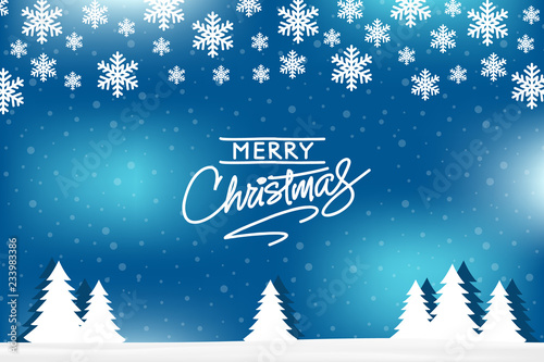 Merry Christmas greeting card vector design on blue winter background with snow, christmas-tree. © irina