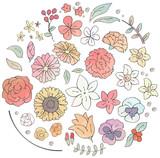 様々な花のイラストのセット(水彩風) - 233994790