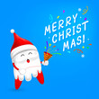 Cartoon Santa tooth character with papershoot. Merry Christmas and happy new year. Dental care concept. Illustration on blue background.