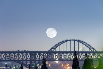 bridge closeup with moon