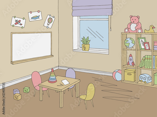 Preschool classroom graphic color interior sketch illustration vector