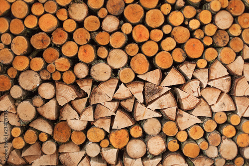 A woodpile of round logs and wood chucks in the countryside. - 234015736
