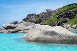 A rocks close up with green bushes, aquamarine water of Andaman sea and a blue sky at the Thailand Similan islands - 234015928